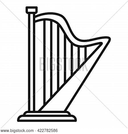 Harp Concert Icon. Outline Harp Concert Vector Icon For Web Design Isolated On White Background