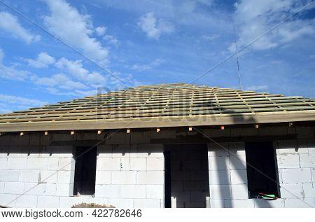 Wood roof trusses. House construction. 4 June 2021. Kiev Region, Ukraine