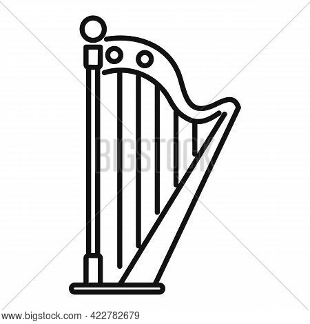 Harp Chord Icon. Outline Harp Chord Vector Icon For Web Design Isolated On White Background