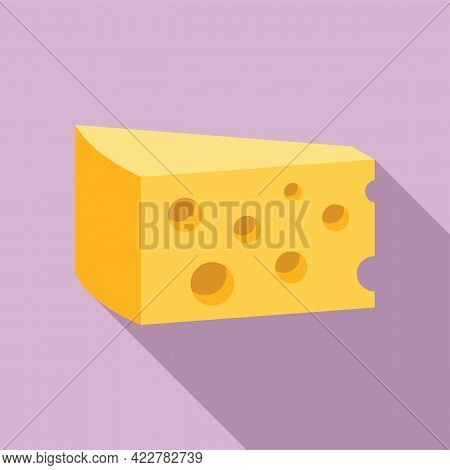 Cheese Emmental Icon. Flat Illustration Of Cheese Emmental Vector Icon For Web Design