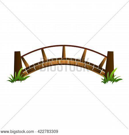 Wood Bridge Icon. Cartoon Of Wood Bridge Vector Icon For Web Design Isolated On White Background