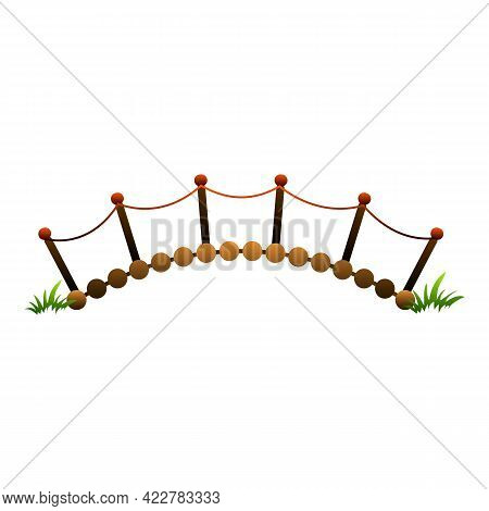 Wood Bar Bridge Icon. Cartoon Of Wood Bar Bridge Vector Icon For Web Design Isolated On White Backgr