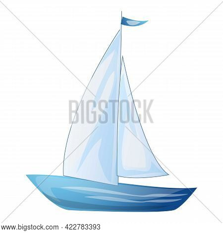 Sail Yacht Icon. Cartoon Of Sail Yacht Vector Icon For Web Design Isolated On White Background