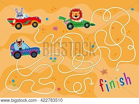 A Maze Game For Boys Racing In The Desert. Help The Cars Reach The Finish Line. Animal Drivers Are L