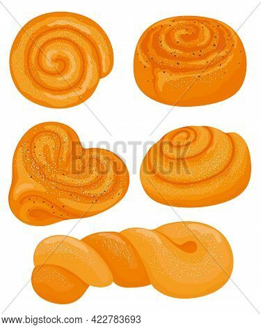 Set Of Cinnamon Rolls And Buns. A Set Of Swirl Buns. Hand-drawn. Vector Illustration.