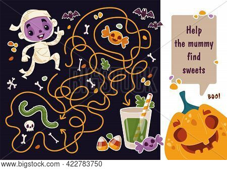 Maze Game For Boys. Help The Mummy Find Sweets In The Maze. Pumpkin Says On The Banner. Halloween Ma