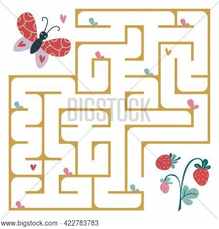 The Butterfly Flies To The Strawberry Through The Maze. A Square Maze In Beautiful Delicate Colors.