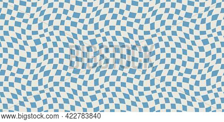 Seamless Geometric Pattern With Woven And Distorted Checkers