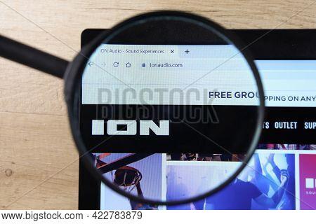 Richmond, Virginia, Usa - 7 January 2021: Editorial Of Ion Audio Website Homepage. Ion Audio Logo Vi