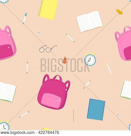 Vector Seamless Pattern With School Satchel, Books, Alarm Clock, Pencils, Glasses On Beige Backgroun