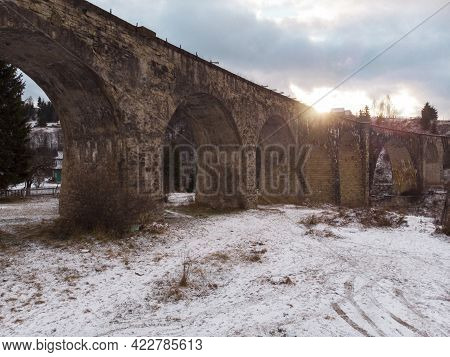 Viaduct In Vorokhta At Winter, Sunset Time
