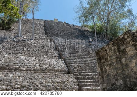 Visitors Of The Mayan Ruins Of Calakmul, Campeche, Mexico