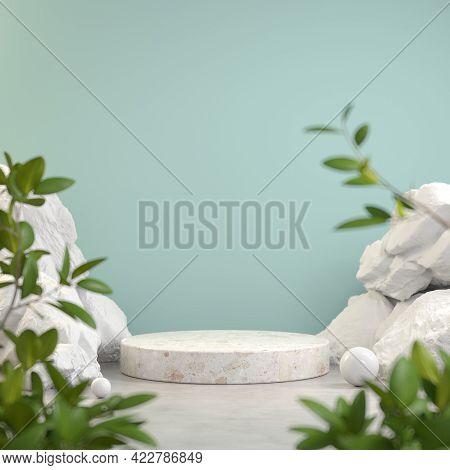 Mockup Minimalist Podium Display, Rock Stone Nature, Tropic Plant Blur Foreground, Abstract Backgrou