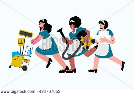 Caucasian, African-american Hotel Maids In Uniform Hurry To Clean Up In Hotel Room.vector Illustrati