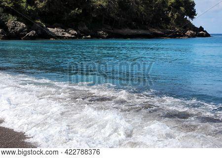 Beautiful View Of Foamy Wave On Sea Beach