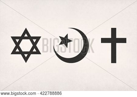 The Abrahamic Symbols (judaism, Islam And Christianity) Printed On Paper.