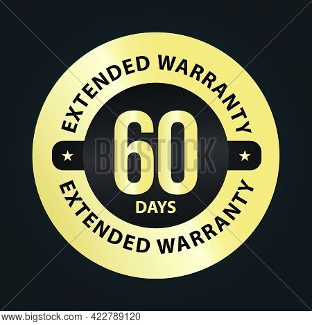 Extended Warranty Abstract '60 Days Extended Warranty' Vector Symbol, Golden Premium Vector Isolated