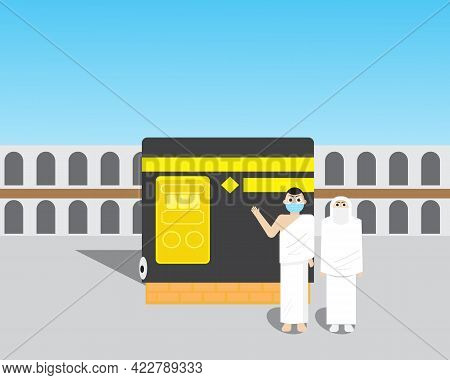 A Vector Of Kaaba With Pilgrimage Wearing Face Mask. New Normal Hajj. Stay Safe During Hajj In Covid
