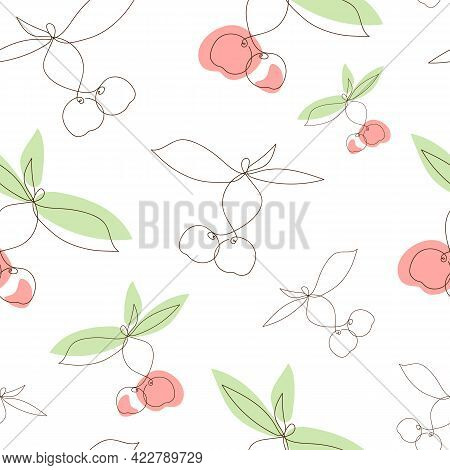 Simple Seamless Pattern With Cherries In Line Art Style. Red And Green Spots With Thin Black Lines.