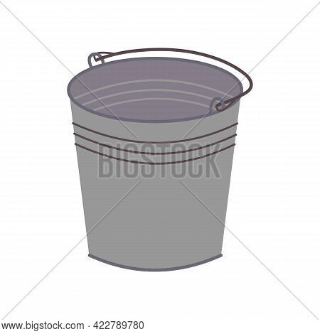 Metal Galvanized Gray Bucket Icon. Can Be Used As A Symbol Or Sign. Stock Vector Illustration Isolat