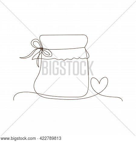 Simple Line Art Glass Canning Jar With Heart. Preserved Food, Jar For Jam, For Honey, Autumn And Win