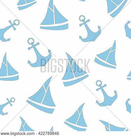 Cute Nautical Pattern With Sailboat And Anchor. Children's Print With Blue Marine Elements Of Boat A