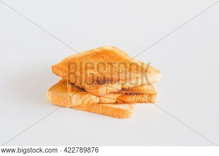 Toaster With Many Slices Of Toast. Baking Bread.