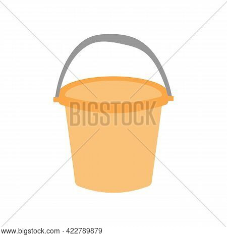 Simple Orange Plastic Bucket Icon. Can Be Used As A Symbol Or Sign. Cleaning Service Concept. Stock