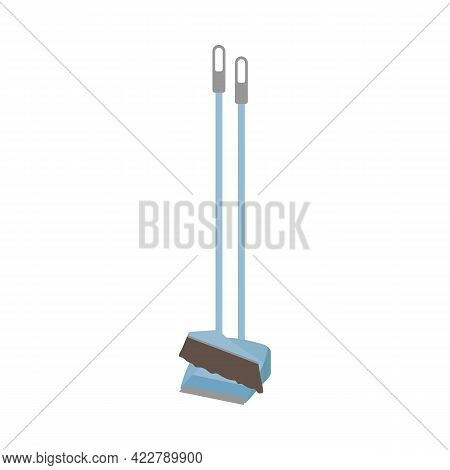 Long Handle Brush, Dustpan Icon. Cleaning Service Concept. Stock Vector Illustration Isolated On Whi