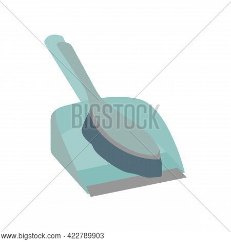 Simple Dust Pan With Brush Icon. Cleaning Service Concept. Stock Vector Illustration Isolated On Whi