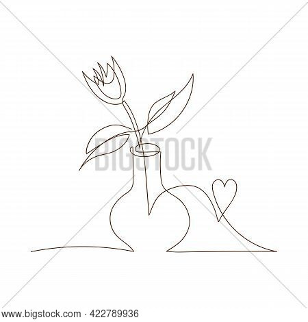 Simple Sketch Of Tulip In A Vase, Black Line, Doodle Style. One Flower In A Vase With Heart Line Art