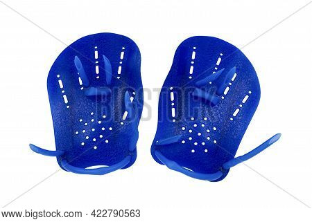 Swimming Paddles Isolated On White Background. Blue Paddle For Swim With Clipping Path