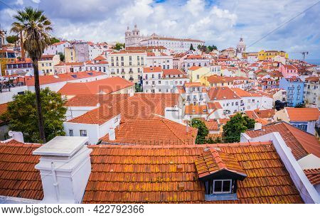 Lisbon, Portugal - March 25, 2017: Panoramic View Old Traditional City Of Lisbon With Red Roofs, Sai