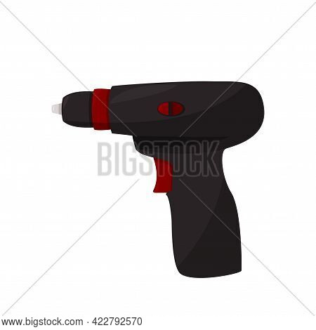 Drill Vector Illustration. Isolated For Graphic And Web Design. Realistic Screwdriver On White Backg