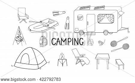 A Set Of Items And Equipment For Camping, Hiking Or Camping. Elements And Sports Assortment For Hiki