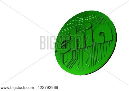 Green Chia Coin Isolated On White Background. Chia Eco Crypto Currency. 3d Rendering
