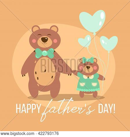Flat Style Illustration For Father's Day On Brown Background - Dad With His Daughter Teddy Bear Hold