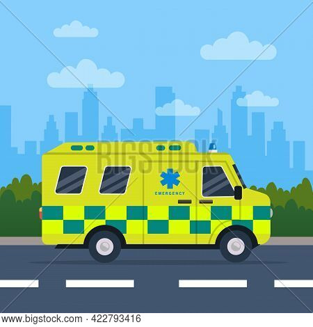 Ambulance Driving On The Road. Yellow And Green Ambulance Medical Service In Flat Style. Vehicle Eme