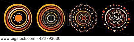 Set Of Stylized Suns. Australian Art. Aboriginal Painting Style. Smooth Round Shapes, Circles Isolat