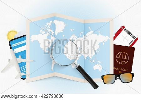 Travel Destination Gambia, Tourism Mockup With Travel Equipment And World Map With Magnifying Glass
