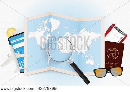 Travel Destination Sierra Leone, Tourism Mockup With Travel Equipment And World Map With Magnifying