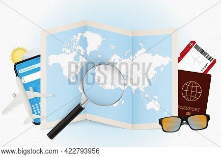 Travel Destination Liberia, Tourism Mockup With Travel Equipment And World Map With Magnifying Glass