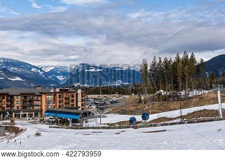 Revelstoke, Canada - March 15, 2021: Revelation Gondola At Ski Resort Early Spring Panorama