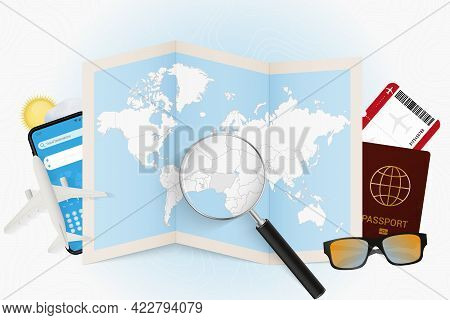 Travel Destination Nigeria, Tourism Mockup With Travel Equipment And World Map With Magnifying Glass