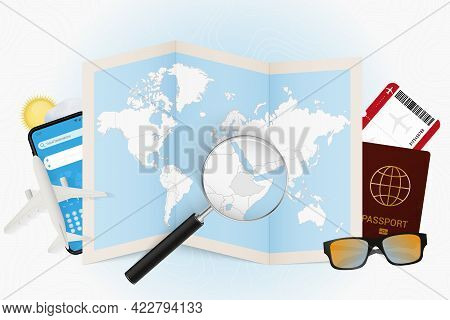 Travel Destination Ethiopia, Tourism Mockup With Travel Equipment And World Map With Magnifying Glas
