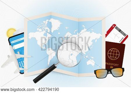 Travel Destination Burundi, Tourism Mockup With Travel Equipment And World Map With Magnifying Glass