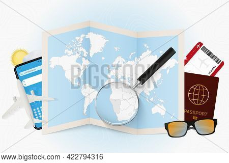 Travel Destination Namibia, Tourism Mockup With Travel Equipment And World Map With Magnifying Glass