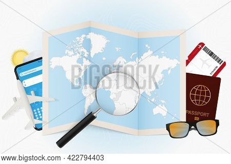 Travel Destination Congo, Tourism Mockup With Travel Equipment And World Map With Magnifying Glass O
