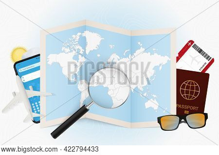 Travel Destination Equatorial Guinea, Tourism Mockup With Travel Equipment And World Map With Magnif