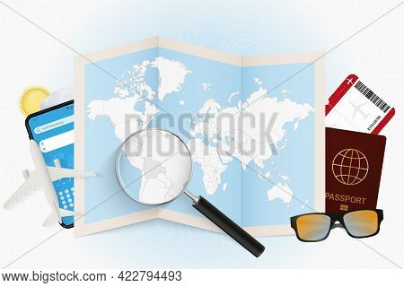 Travel Destination Bolivia, Tourism Mockup With Travel Equipment And World Map With Magnifying Glass